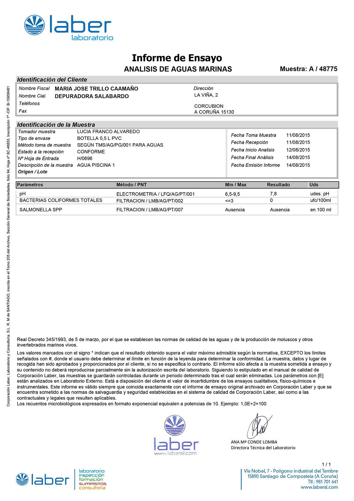 Análisis Laboratorio Laber MercaMaris Agosto 2015