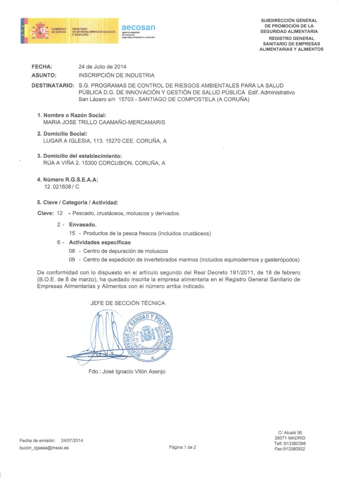 Registro Sanitario MercaMaris