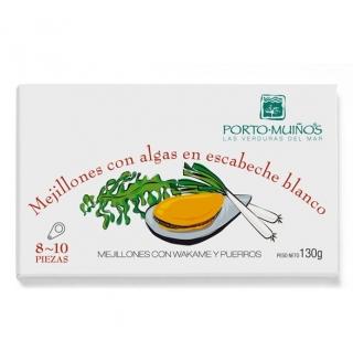 Comprar Mejillones con algas en escabeche blanco 130g a domicilio al mejor precio online, económico y barato. Primera y máxima calidad
